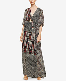BCBGMAXAZRIA Printed Maxi Wrap Dress