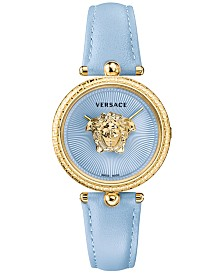 Versace Women's Swiss Palazzo Empire Blue Leather Strap Watch 34mm