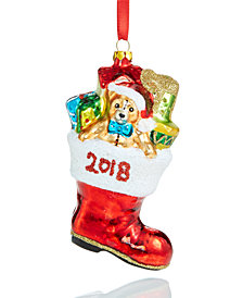 Holiday Lane Glass 2018 Toy Filled Santa Boot Ornament, Created for Macy's