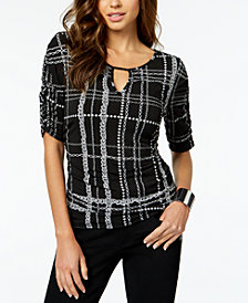 Thalia Sodi Printed Ruched Top, Created for Macy's