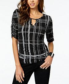 Thalia Sodi Printed Ruched Top, Created for Macy's