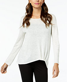 Eileen Fisher Organic Linen Twist-Front Top