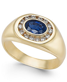 Men's Sapphire (1 ct. t.w.) & Diamond (1/3 ct. t.w.) Ring in 14k Gold