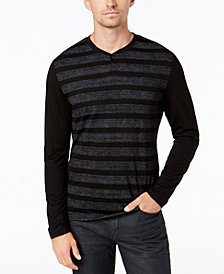 Alfani Men's Striped Henley, Created for Macy's