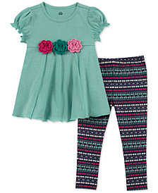 Kids Headquarters Baby Girls 2-Pc. Flower Tunic & Printed Leggings Set