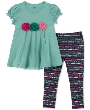 Kids Headquarters Baby Girls 2Pc Flower Tunic  Printed Leggings Set