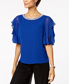 MSK Embellished Ruffle-Sleeve Top