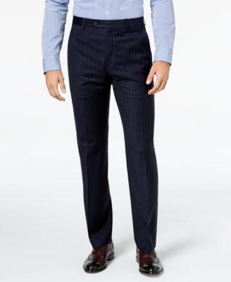 Men's Classic-Fit UltraFlex Stretch Navy Pinstripe Suit Pants