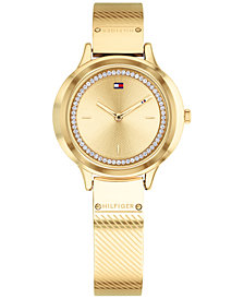 Tommy Hilfiger Women's Gold-Tone Stainless Steel Bangle Bracelet Watch 32mm