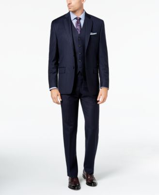 Men's Classic-Fit UltraFlex Stretch Navy Pinstripe Suit Pants