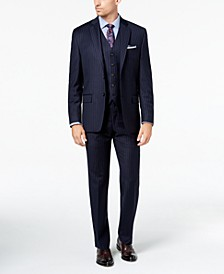 Men's Classic-Fit UltraFlex Stretch Navy Pinstripe Vested Suit Separates