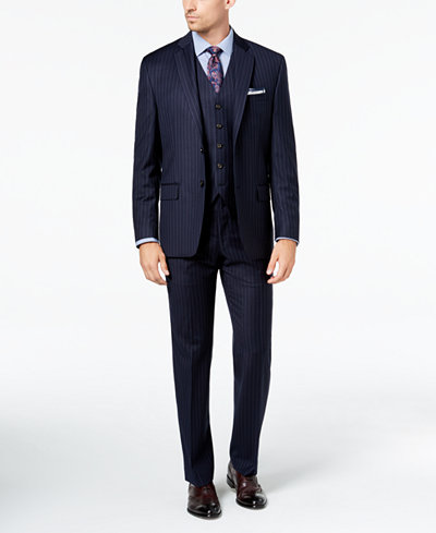 Lauren Ralph Lauren Men's Classic-Fit UltraFlex Stretch Navy Pinstripe Vested Suit Separates