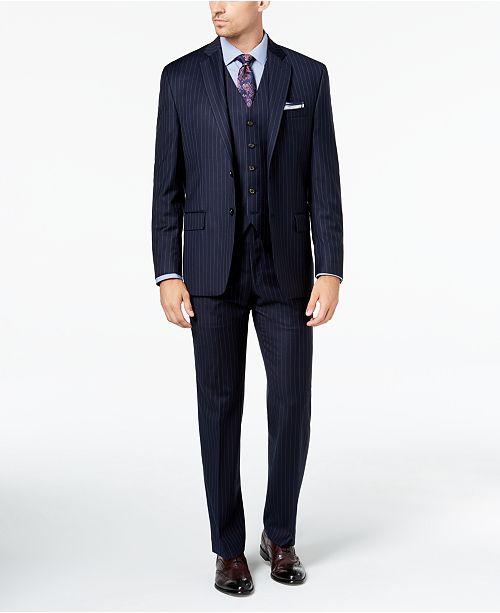 Lauren Ralph Lauren Men's Classic-Fit UltraFlex Stretch Navy Pinstripe Vested Suit Separates