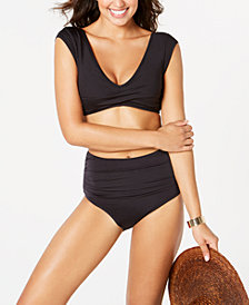 Kenneth Cole Twisted Swim Top & High-Waist Bottoms
