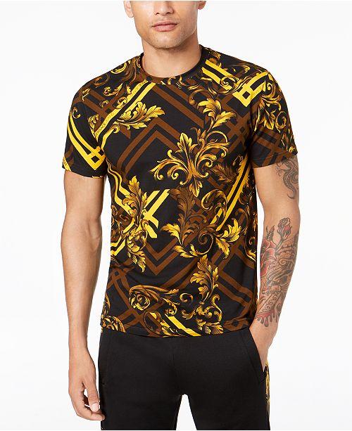 77891120 Versace Jeans Men's Baroque-Check Printed T-Shirt & Reviews - T ...