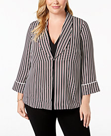 Alfani Plus Size Striped Robe Blazer, Created for Macy's
