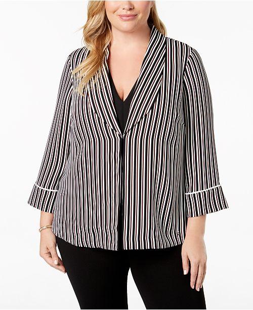 Striped Macy's Alfani for Robe Size Blazer Plus Black Created pUqEU0w