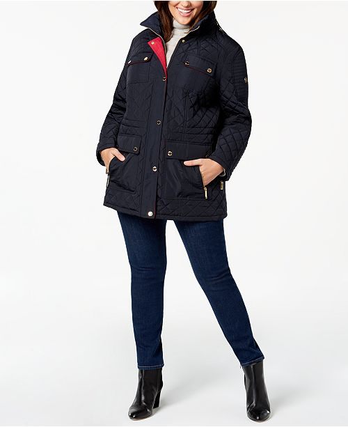 45d08b96ad Michael Kors Plus Size Hooded Quilted Anorak Coat   Reviews - Coats ...