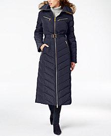MICHAEL Michael Kors Faux-Fur-Trim Belted Puffer Coat