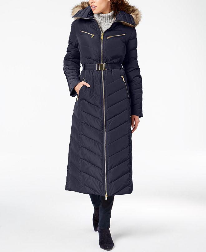 Michael Kors Faux-Fur-Trim Belted Puffer Coat & Reviews ...