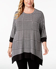 Calvin Klein Plus Size Printed 3/4-Sleeve Top