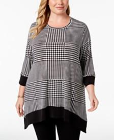 Calvin Klein Plus Size Printed 3/4-Sleeve Top
