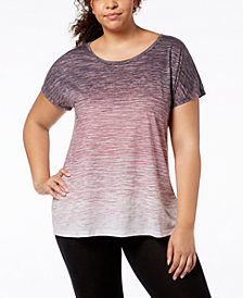 Ideology Plus Size Ombré V-Back T-Shirt, Created for Macy's