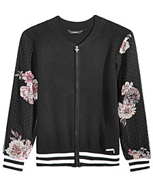 GUESS Big Girls Printed Mesh Sweater Bomber Jacket