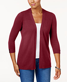 Karen Scott Ribbed-Yoke Open Cardigan, Created for Macy's