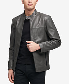 DKNY Men's Leather Racer Jacket, Created for Macy's