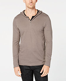 I.N.C. Men's Knit V-Neck Hooded Shirt, Created for Macy's