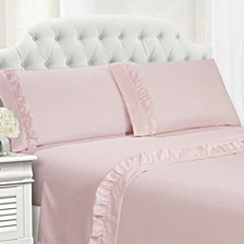 Ruffle Hem Queen 4 PC Sheet Set