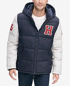Men's Varsity Hooded Puffer Jacket, Created for Macy's
