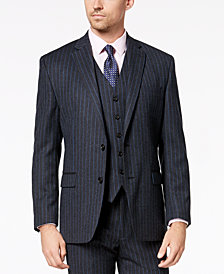 Lauren Ralph Lauren Men's Classic-Fit UltraFlex Stretch Charcoal/Blue Pinstripe Suit Jacket