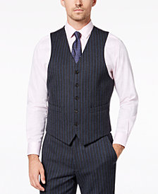 Lauren Ralph Lauren Men's Classic-Fit UltraFlex Stretch Charcoal/Blue Pinstripe Suit Vest