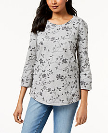 Karen Scott Printed 3/4-Sleeve Sweatshirt, Created for Macy's