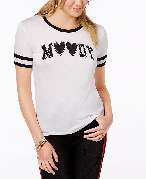 White T Graphic Juniors' Moody Print Rebellious Black Shirt One q0X1P6