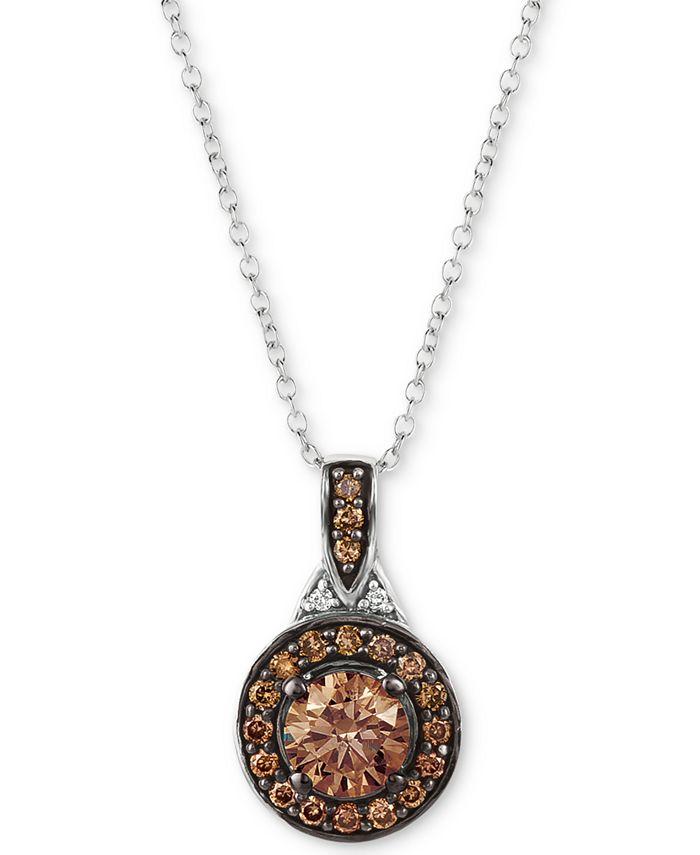 """Le Vian - Diamond Halo 18"""" Pendant Necklace (9/10 ct. t.w.) in 14k White Gold"""