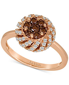 Le Vian Chocolatier® Diamond Cluster Ring (3/4 ct. t.w.) in 14k Rose Gold