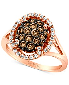 Chocolatier® Diamond Halo Cluster Ring (3/4 ct. t.w.) in 14k Rose Gold