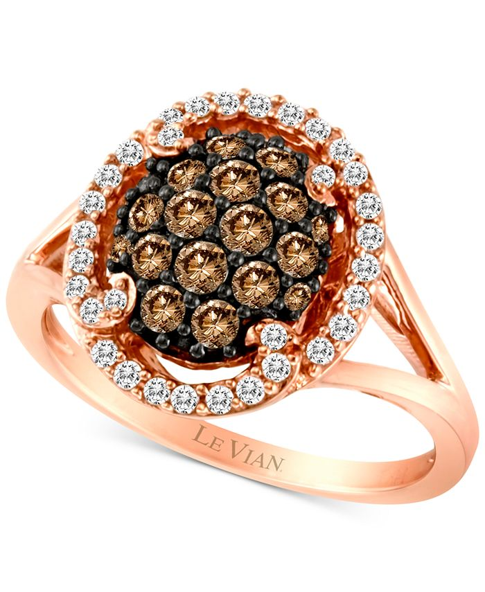Le Vian - Diamond Halo Cluster Ring (3/4 ct. t.w.) in 14k Rose Gold