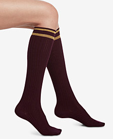 HUE® Metallic-Stripe Cable-Knit Knee Socks