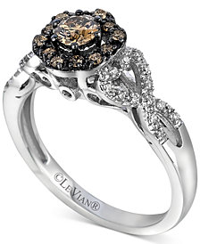 Le Vian Chocolatier® Diamond Halo Cluster Ring (1/2 ct. t.w.) in 14k White Gold