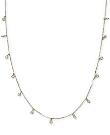 """Giani Bernini 18K Gold Plated Cubic Zirconia Chain Necklace, 16"""" + 2"""" extender, Created for Macy's"""