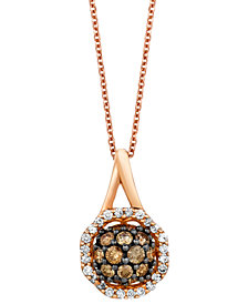 "Le Vian Chocolatier® Diamond Cluster 18"" Pendant Necklace (5/8 ct. t.w.) in 14k Rose Gold"