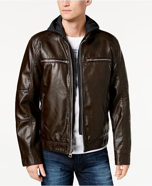 e0b90bdd Men's Faux-Leather Detachable-Hood Motorcycle Jacket