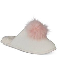 I.N.C. Pom Pom Knit Slippers, Created for Macy's