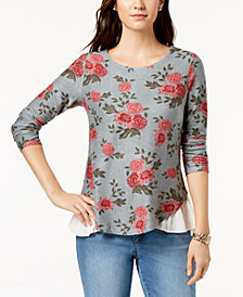Style & Co Printed Layered-Look Top, Created for Macy's