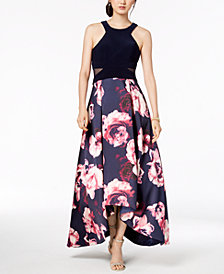 Xscape Petite Solid & Floral High-Low Gown