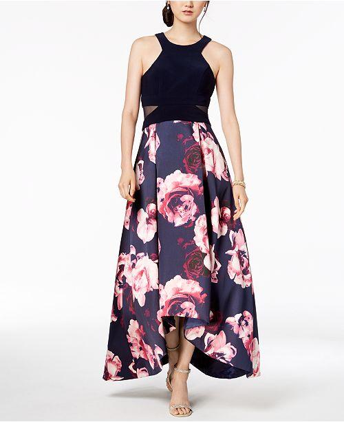 066901b4 XSCAPE Petite Solid & Floral High-Low Gown & Reviews - Dresses ...